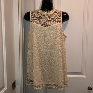 Lace overlay ivory colored high neck blouse large